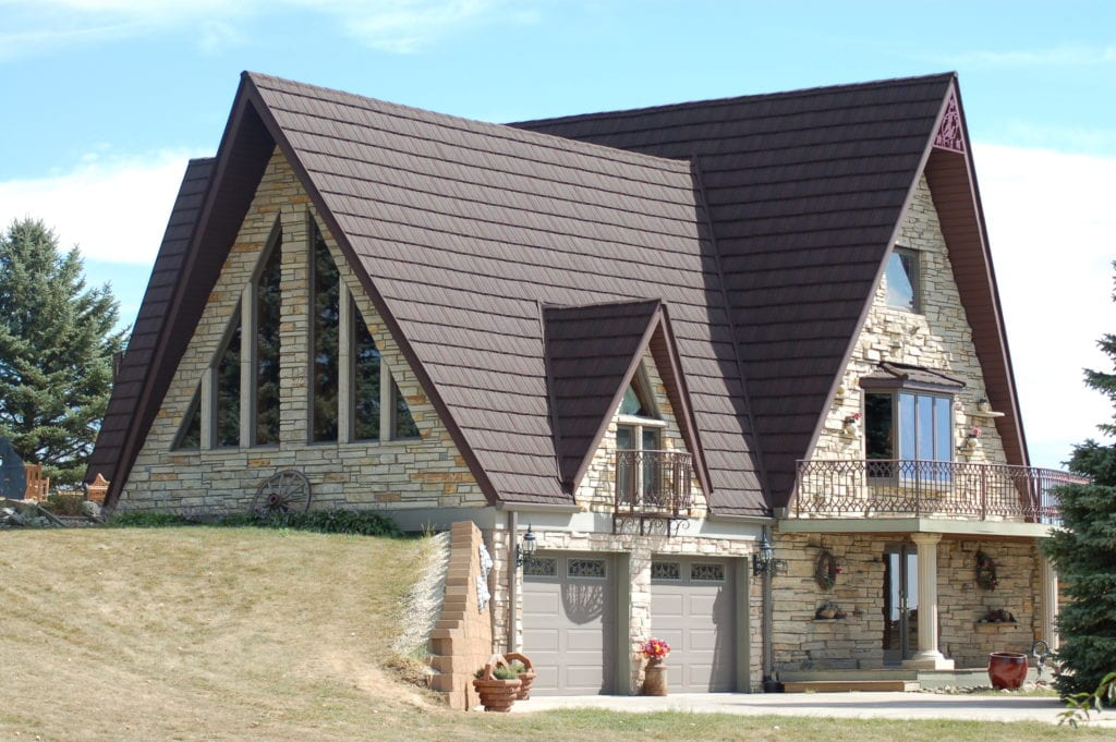 Finished Stone Coated Red Steel Shingle House