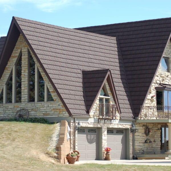 Finished Stone Coated Red Steel Shingle House
