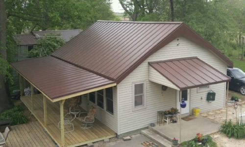 Red Painted Steel Roof Complete
