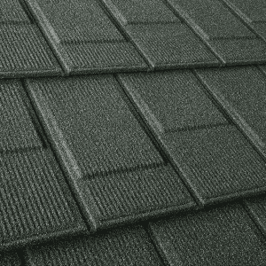 Upclose Green Stone Coated Steel Shingles