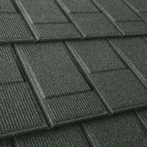 Upclose Green Stone Coated Steel Shingles