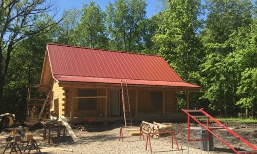 Red Painted Steel Roof on Cabin