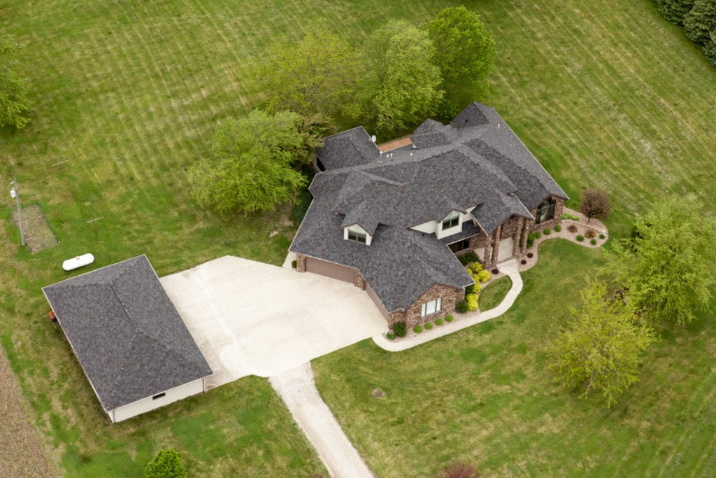 Finished Aerial View Shingled Home