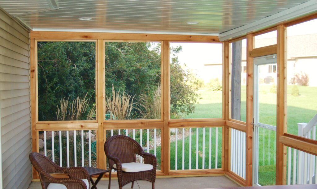 underdecking, screened in, quiet place.